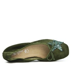 Green comfort ballerina with star pattern