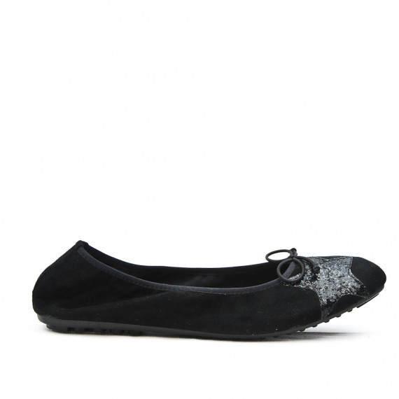 Black comfort ballerina with star pattern