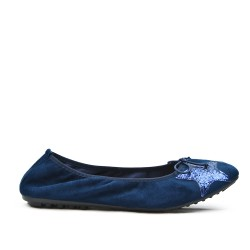 Navy comfort ballerina with star pattern