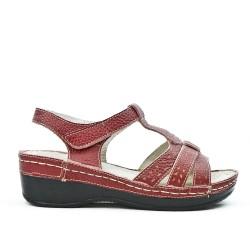 Sandale confort en cuir rouge