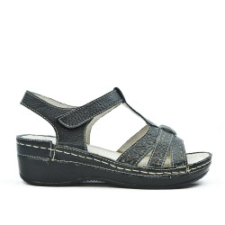 Black leather comfort sandal