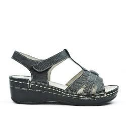 Sandalia de confort en piel negra
