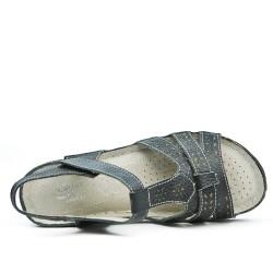 Sandale confort en cuir noir