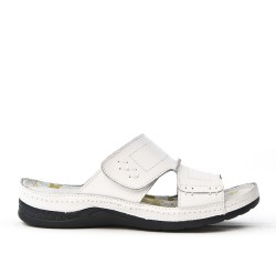 Mule comfort woman in white leather