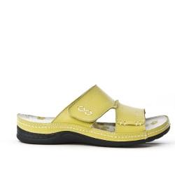 Mule femme confort en cuir jaune