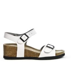 Sandale confort en cuir blanc