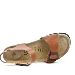 Sandale confort en cuir camel