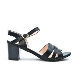 Sandale noire à talon carré en grande taille