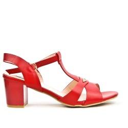 Sandale rouge à talon carré en grande taille