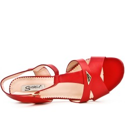 Red sandal with square heel in large size