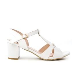 Sandale blanche à talon carré en grande taille
