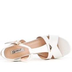 White sandal with square heel in large size