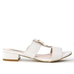 White flap with square heel in large size