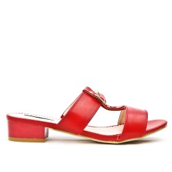 Red flap with square heel in large size