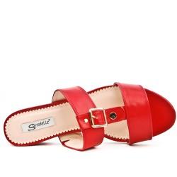 Claquette rouge à talon carré en grande taille