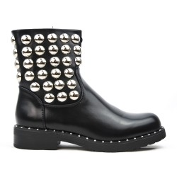 Black ankle boot in smooth faux leather