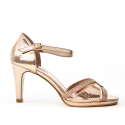 Pink sandal in textured faux leather