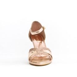 Sandale rose en simili cuir texturé
