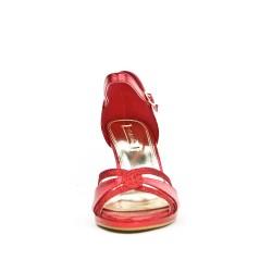 Sandale rouge en simili cuir texturé