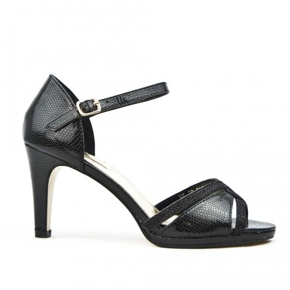 Sandalia negra en piel sintética texturizada