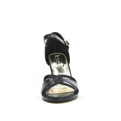 Sandale noire en simili cuir texturé