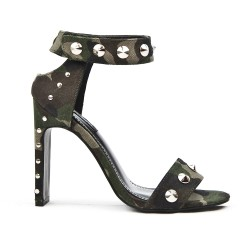 Printed military sandal with studs