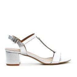 Sandale argent à à bride ornée de métal avec talon carré