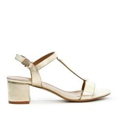 Sandale dorée à à bride ornée de métal avec talon carré
