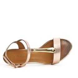 Sandale champagne à à bride ornée de métal avec talon carré