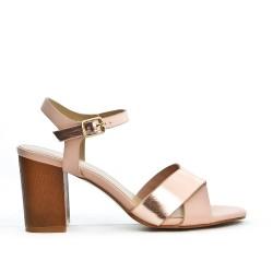 Sandale rose à bride avec talon carré