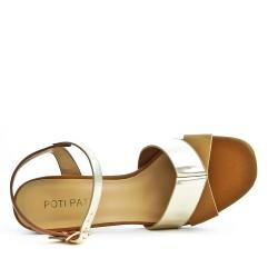 Sandale marron à bride avec talon carré