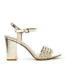 Sandale dorée à brides tressées