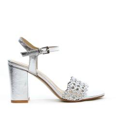 Sandale argent à brides tressées