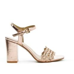 Sandale champagne à brides tressées