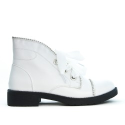 White boot with ribbon lace