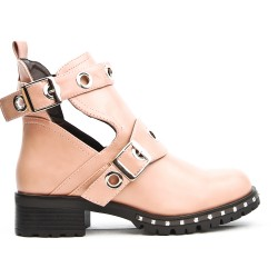 Pink ankle boot with buckled bridles