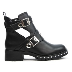 Black ankle boot with buckled bridles
