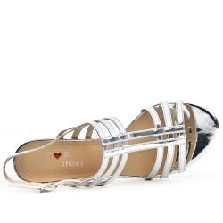 Sandale argent à talon carré