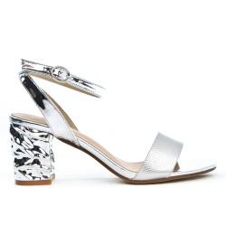 Sandale argent à talon