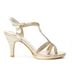 Golden sandal with rhinestones