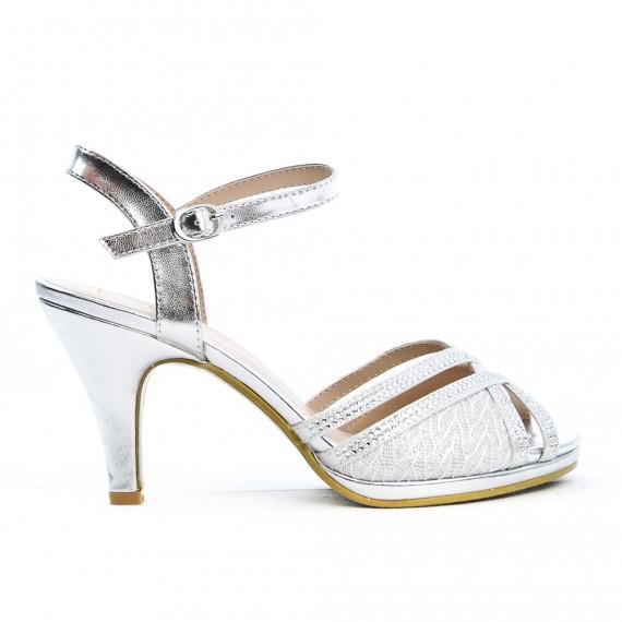 Lace detail silver sandal