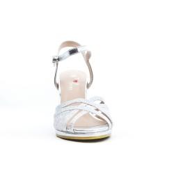 Sandale argent détail en dentelle