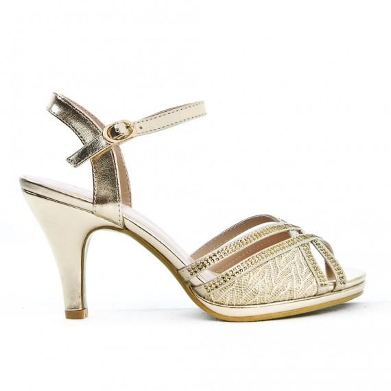 Sandale dorée détail en dentelle