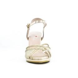 Sandalia con detalle de encaje dorado