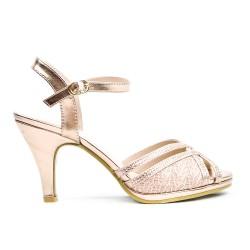 Sandale rose détail en dentelle