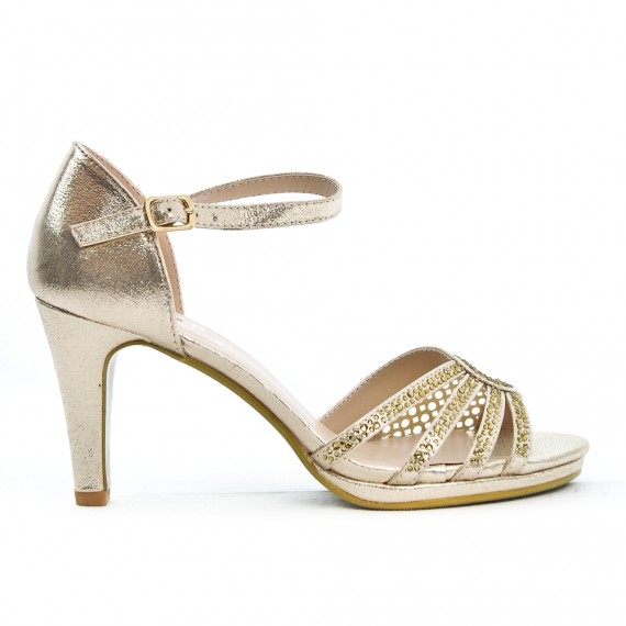 Golden Leather In Faux Heel Sandal With v8Nwnm0