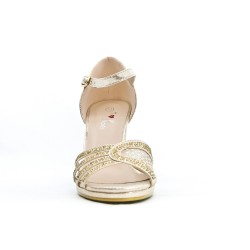 Golden sandal in faux leather with heel