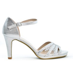 Sandalia de piel imitación plata con tacón