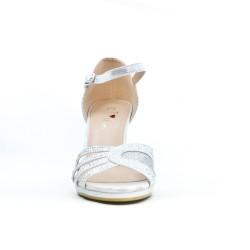 Sandale argent en simili cuir à talon