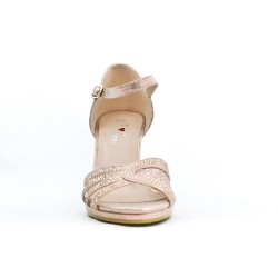 Pink imitation leather sandal with heel